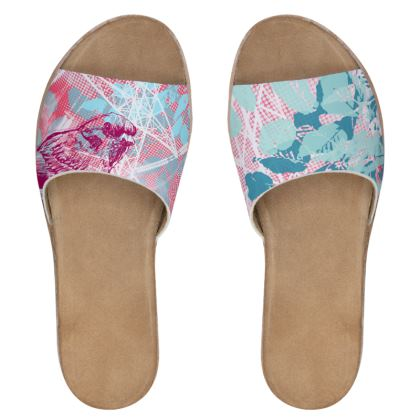 Women's Sliders - Pink Floral with Bird
