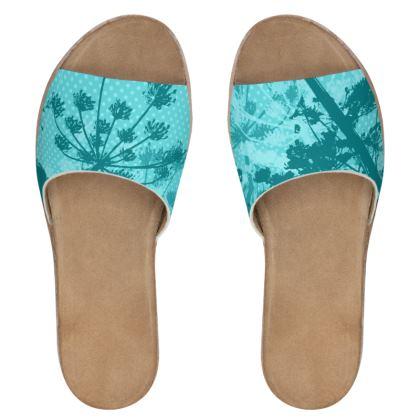 Women's Sliders - Aqua Floral