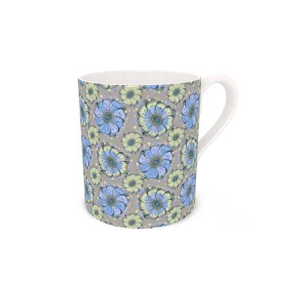 Bone China Mug -Light Blue Anemones