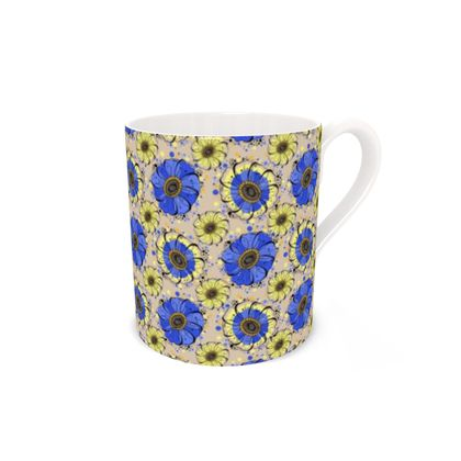 Bone China Mug - Blue Anemones
