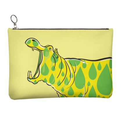 COMMIC Africa - Leather clutch featuring Drippy Hippo