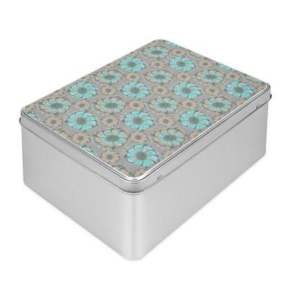 Biscuit Tin - Mint Anemones