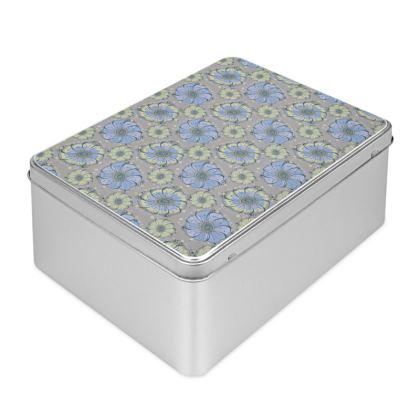 Biscuit Tin - Light Blue Anemones