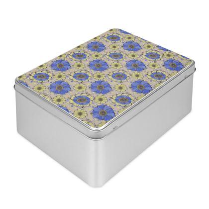 Biscuit Tin - Blue Anemones