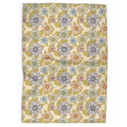 Tea Towel - Dancing Dahlias, cream