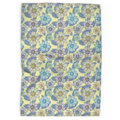 Tea Towel - Dancing Dahlias, buttermilk