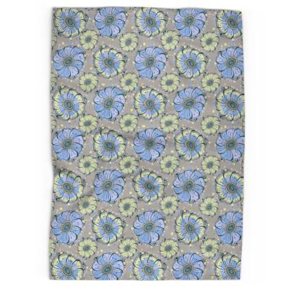Tea Towel - Light Blue Anemones