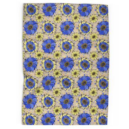 Tea Towel - Blue Anemones