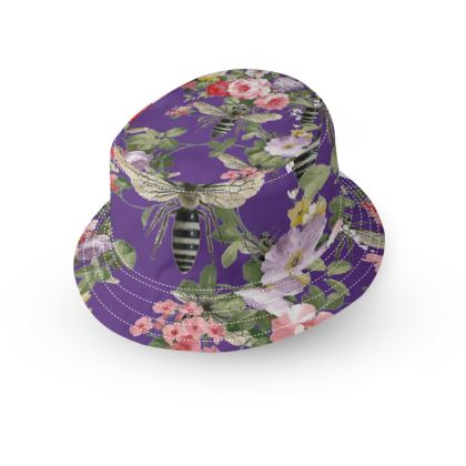 Purple Flora and Bees Bucket Hat