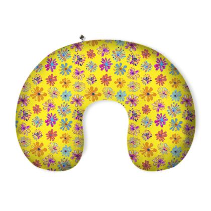 Rainbow Daisies Collection on yellow Neck Pillow