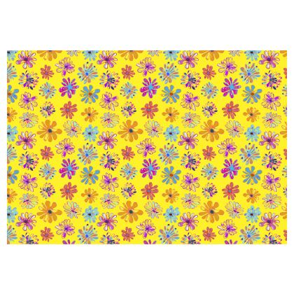 Rainbow Daisies Collection on yellow Occasional Chair