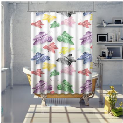Shower Curtain Floating Butterflies