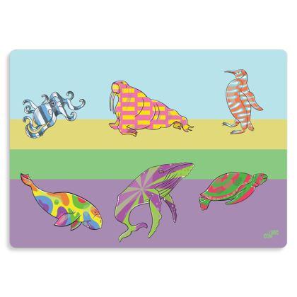 COMMIC Ocean - Stunning metal print of marine animals on parade