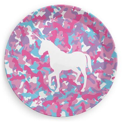 Unicorn Camo Pattern party plates