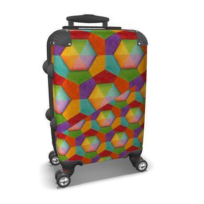 Rainbow Hexagons Suitcase