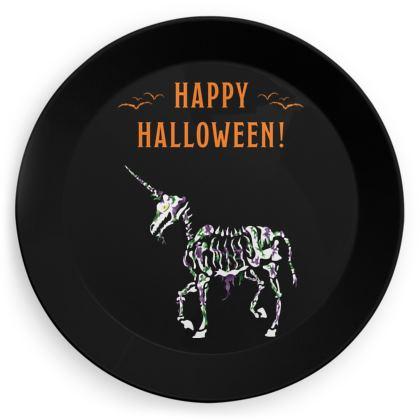 Undead Unicorn Happy Halloween party plates