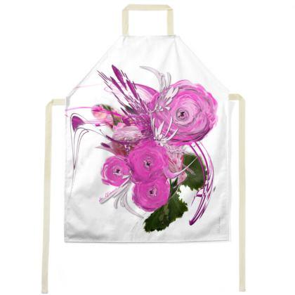 Apron - Förkläde - Pink Summer Fantasy White