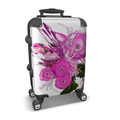 Suitcase (hand luggage) - Resväska  (handbagage) - Pink summer fantasy white