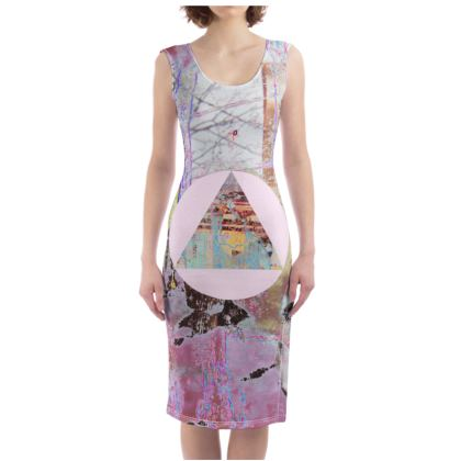 Colourful Printed Bodycon Dress with Triangle Graphic