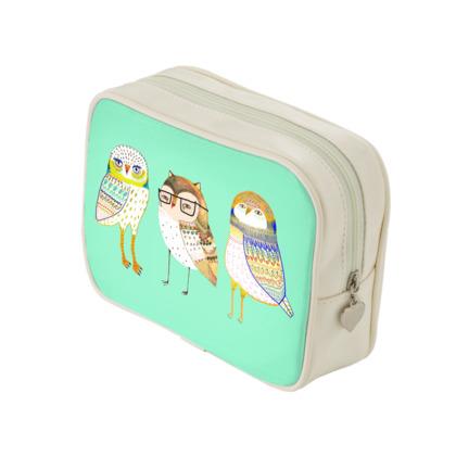 Three Owls Make Up Bags