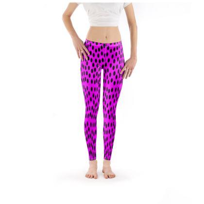 Black Polka Dot Cerise Pink Leggings