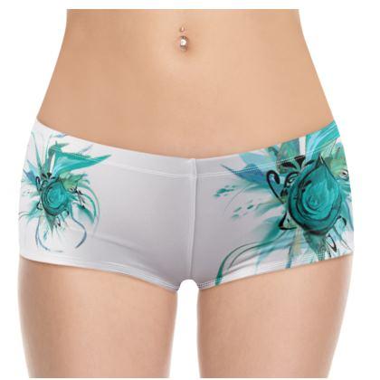 Hot Pants - Turquoise white