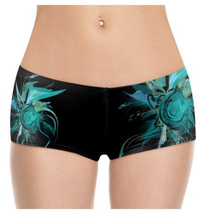 Hot Pants - Turquoise black