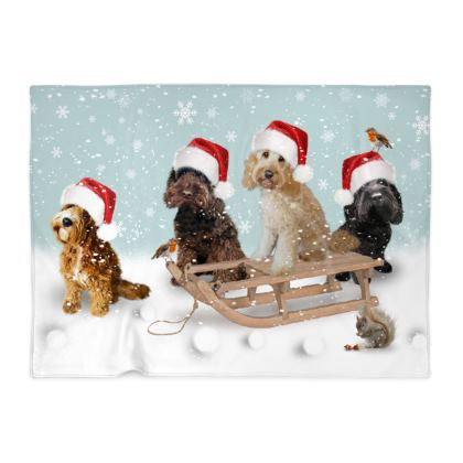 Beautiful Christmas four dog design design blanket