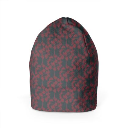 Autumnal Forest Pattern Burning Charcoal Beanie