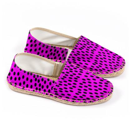 Black Polka Dot Design Cerise Pink Espadrilles
