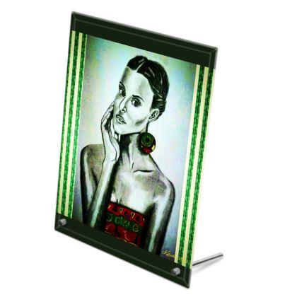 Green Striped Glass Print