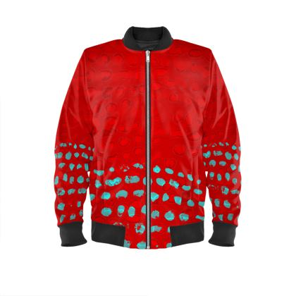 Textural Collection in red and turquoise Ladies Bomber Jacket