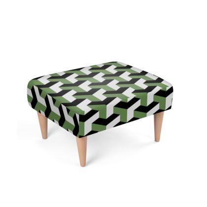 Retro Green Pattern Footstool
