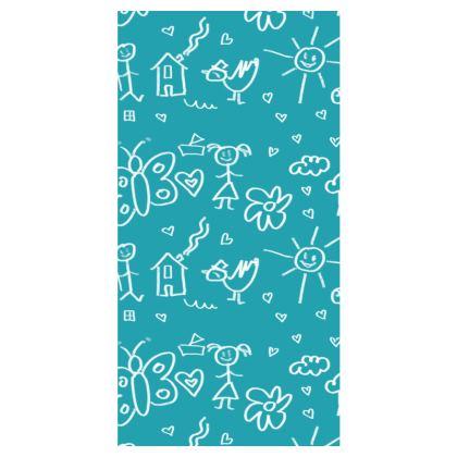 Leggings - Doodle Pattern Aqua Blue