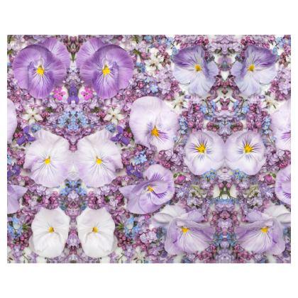 Purple Spring Flowers Silk Kimono.