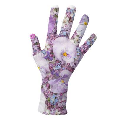 Gloves in Purple Spring Flowers Design.