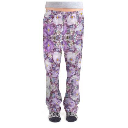 Ladies Pyjama Bottoms in Purple Spring Flowers Design.