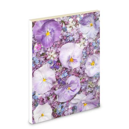 Pocket Note Book in Purple Spring Flowers Design.