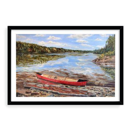 16 x 24 framed art print - Red Canoe