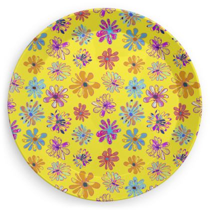Rainbow Daisies Collection on yellow Party Plates