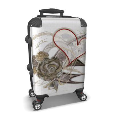 Suitcase (hand luggage) - Resväska  (handbagage) - Brown heart white