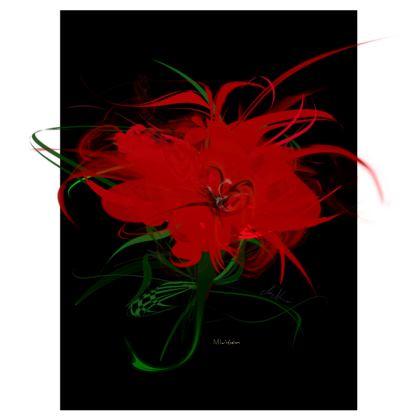 Suitcase (hand luggage) - Resväska  (handbagage) - Red flower black