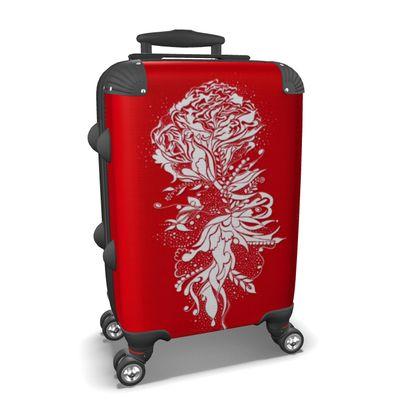 Suitcase (hand luggage) - Resväska  (handbagage) - Flower ink red