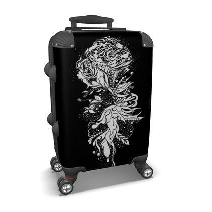 Suitcase (hand luggage) - Resväska  (handbagage) - Flower ink black