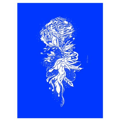 Suitcase (hand luggage) - Resväska  (handbagage) - Flower ink blue
