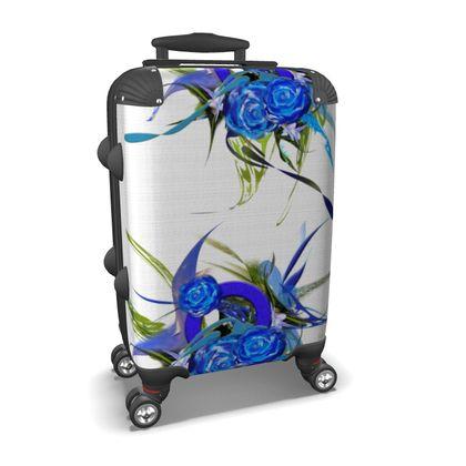 Suitcase (hand luggage) - Resväska  (handbagage) - Blue flower white