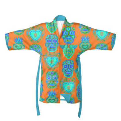 Day of the Dead Orange Kimono