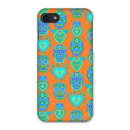 Day of the Dead iPhone 7 Case  - Turquoise and Orange