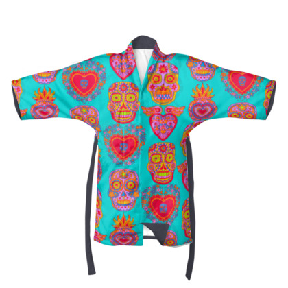 Day of the Dead Hot Pink and Turquoise Kimono