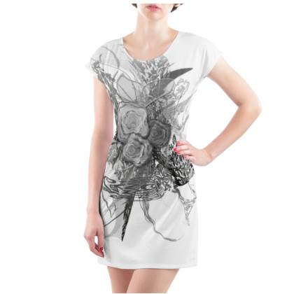 Tunic, T Shirt dress - Tunika, T-shirt klänning - 50 shades of lace grey white